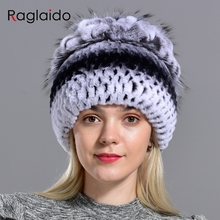 Women's natural fur hat rabbit rex beanies winter warm knitted floral natural fu