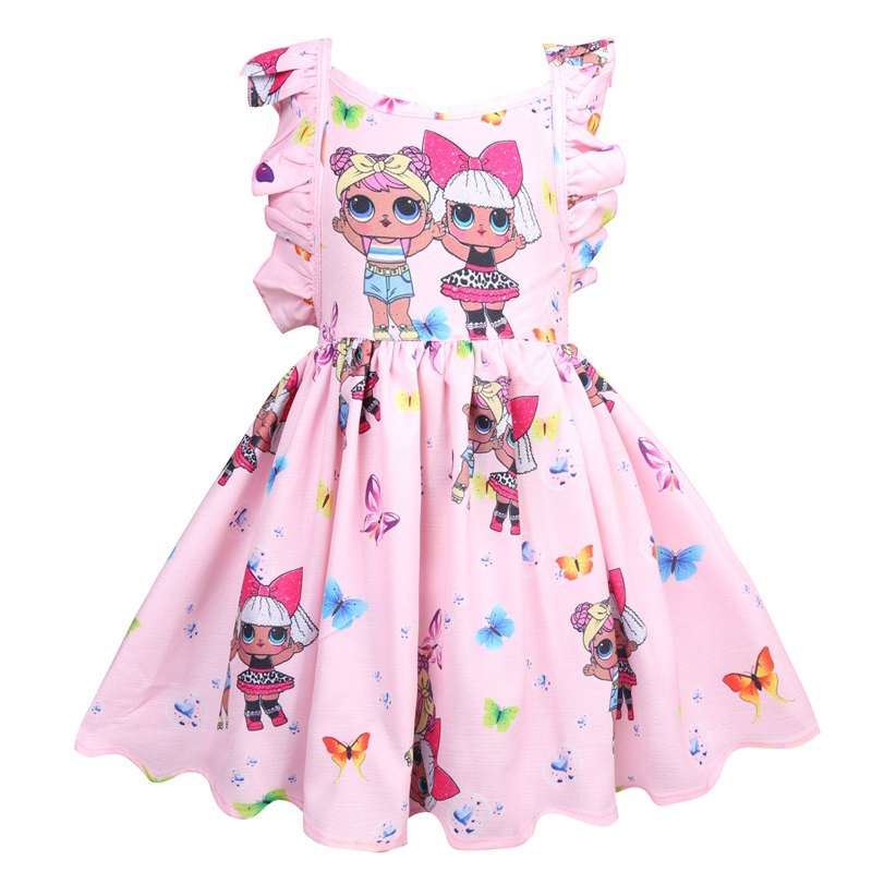 Toddler Girl Dresses Summer Lol Dress Flying Sleeve Backless Party Dresses Kids Baby Children Princess Dress Cartoon Clothes