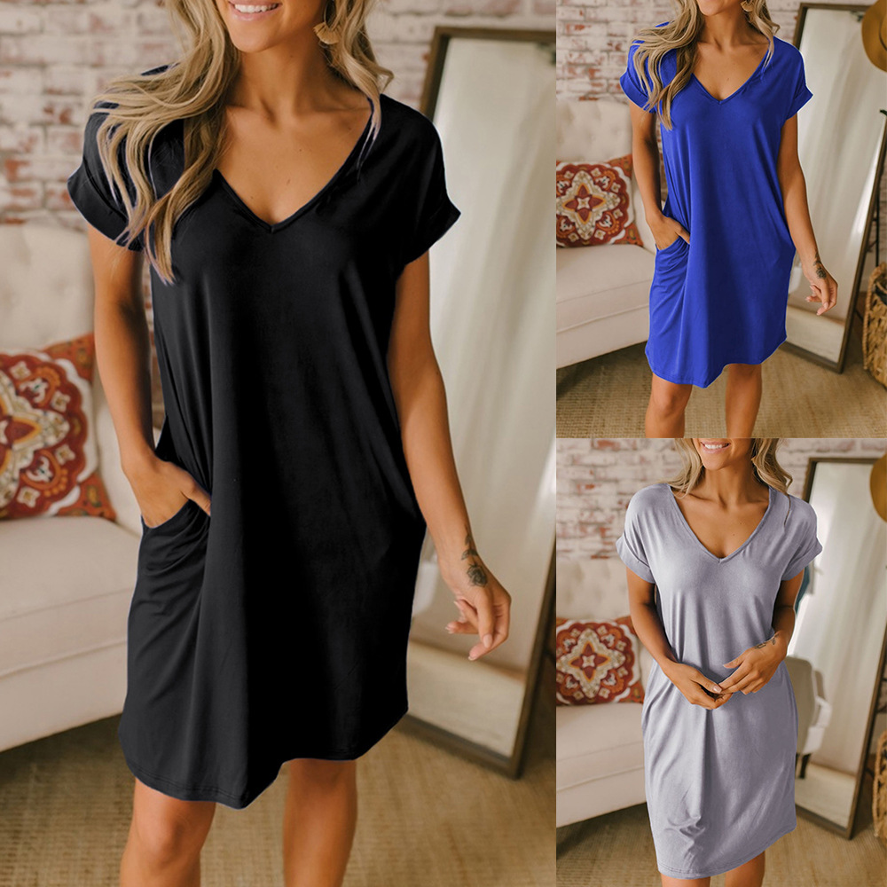 Clothing OWLPRINCESS New Style Solid Color Pullover V-neck Dress Women's Casual Loose-Fit T-shirt Skirt Summer