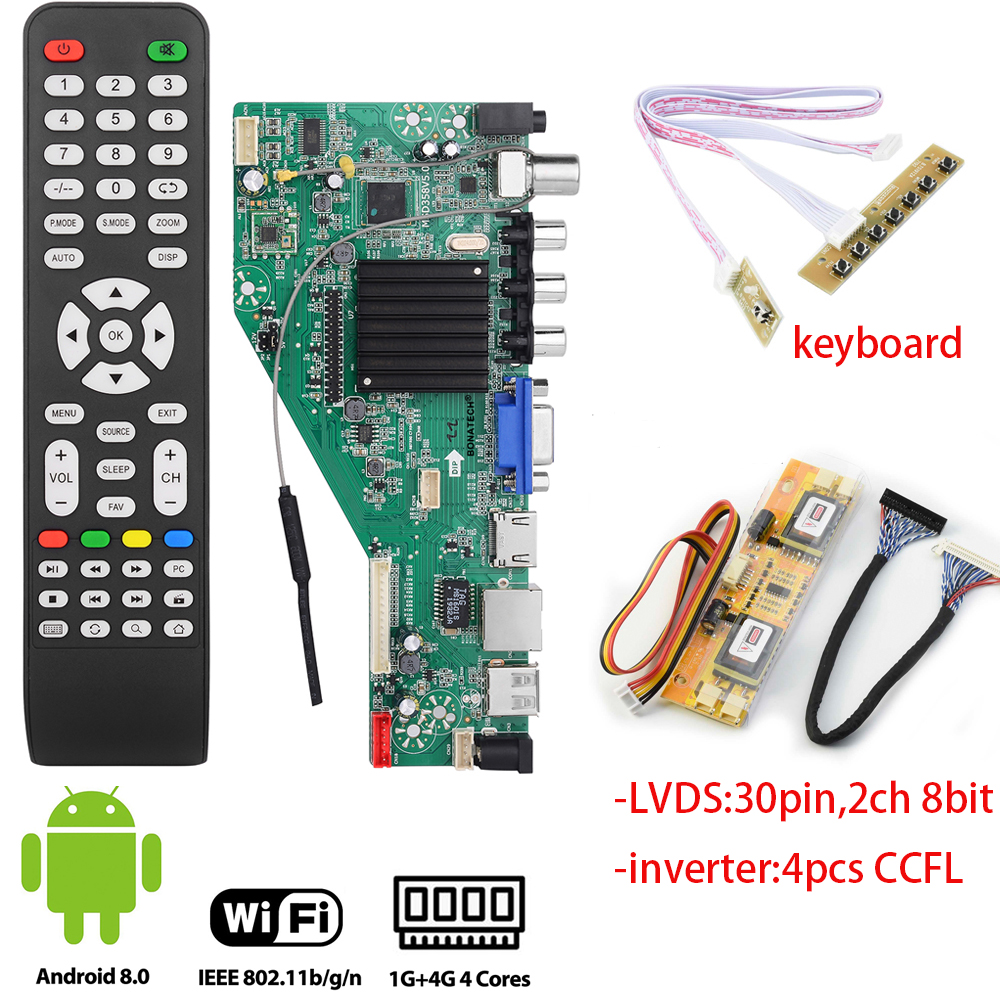 MSD358V5.0 smart <font><b>TV</b></font> driver <font><b>board</b></font> for Android 1G+4G Wireless Network WI-FI <font><b>LCD</b></font> motherboard lvds RJ45/<font><b>HDMI</b></font>/ <font><b>VGA</b></font>/<font><b>AV</b></font>/<font><b>TV</b></font>/<font><b>USB</b></font> 17