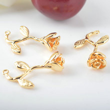 4 Pcs 24x15 mm 24 K Champagne Gold Color Coated Brass Rose Charms Pendants High Quality Diy Jewelry Accessories