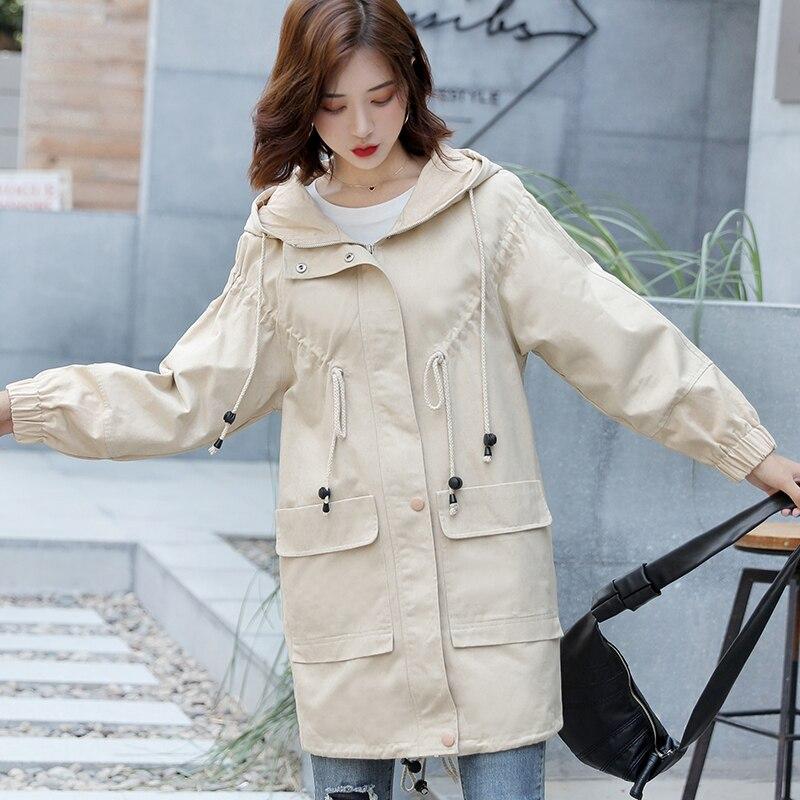 Women Hooded Harajuku Coat Fashion Autumn Long-sleeved Casual   Trench   Coat Multi-color Streetwear Loose Hip Hop Top Windbreaker