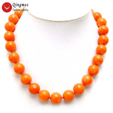 Qingmos Fashion 12-14mm Round Natural Orange Coral Necklace for Woman 18 inch Chokers Necklace Jewelry With Ring Clasp nec5214(China)