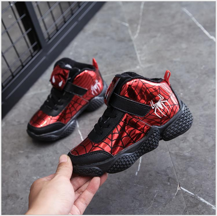 Winter Boys Cartton Spider-man Sports Shoes Children Fashion Warm Sneakers Winter Snow Boots For Kids Size 27-37