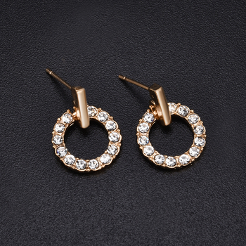 New Fashion Women Stud Wedding Earrings Simple Hypoallergenic Circle Exquisite Mini Earrings Female Jewelry 2019 Wholesale
