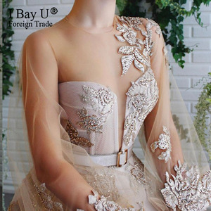 Image 3 - Szampana koronki z koralikami suknia wieczorowa 2020 Puffy rękawem cekiny tiul formalna suknia wieczorowa otwarcie nogi linii