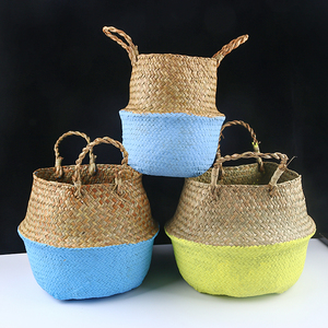 Image 5 - Handmade Bamboo Storage Baskets Foldable Laundry Straw Patchwork Wicker Rattan Seagrass Belly Garden Flower Pot Planter Basket
