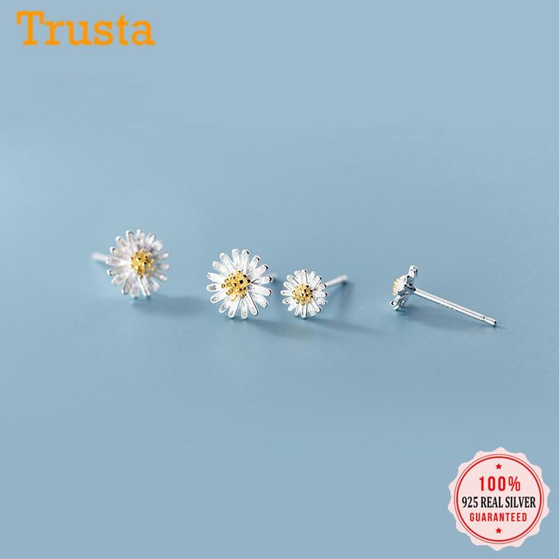 Trustdavis Authentic Minimalist 925 Sterling Silver Sweet Daisy Flowers Stud Earrings For Women Sterling Silver Jewelry DA905