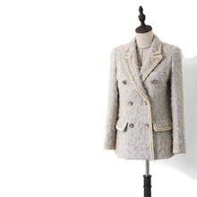 Handmade Luxury Blazer Suits for Women Vintage Tailored Collar Tweed Double Brea