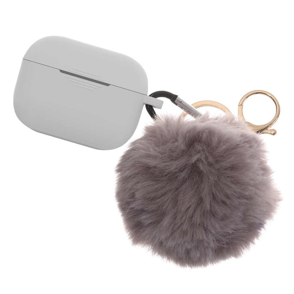 Estuche de silicona para AirPods 1/2, funda protectora bonita de lujo con llavero de bola de pelo para Airpods Pro