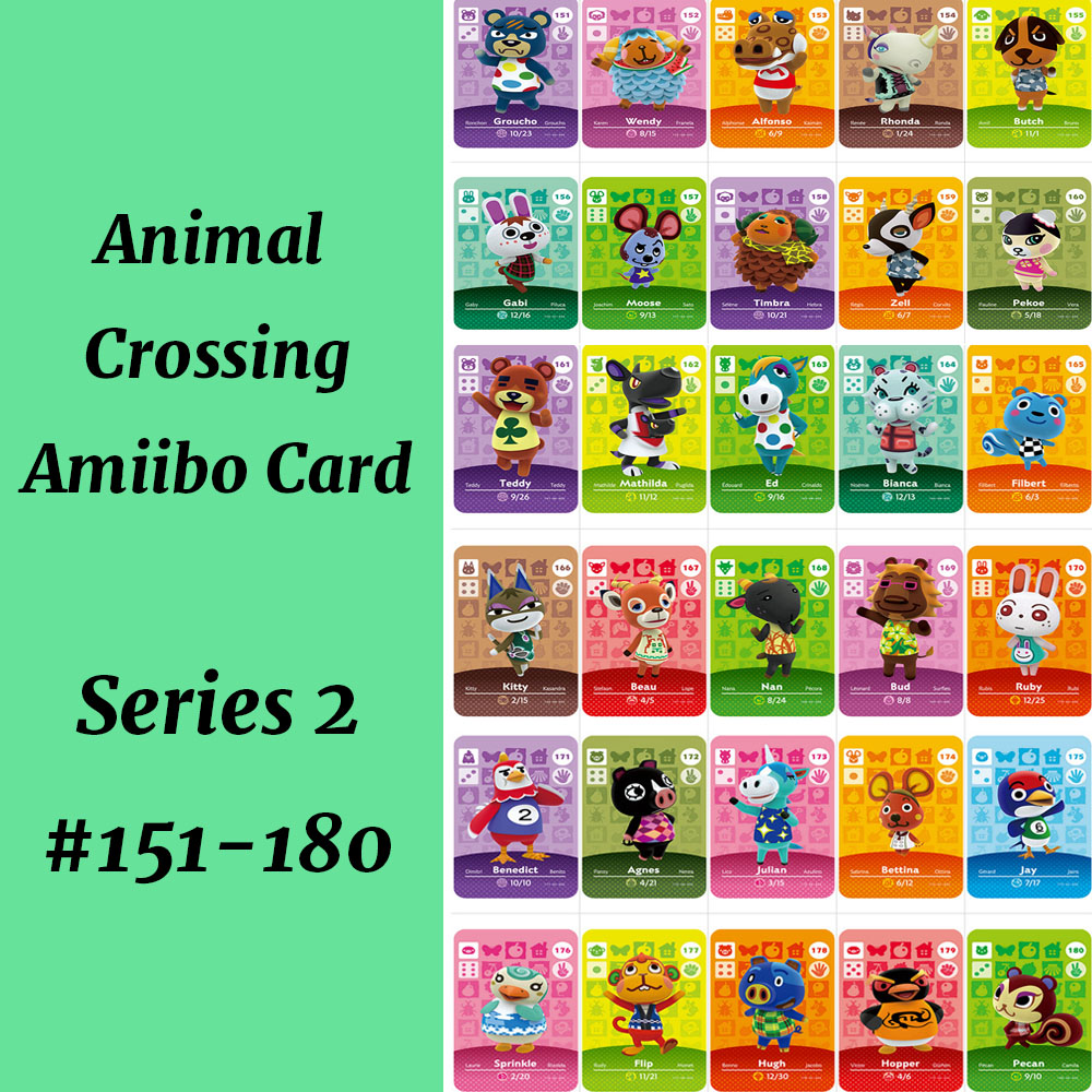 Series 2 (151-180) Animal Crossing Card Work For NS Game Support NFC 3DS Amiibo Card