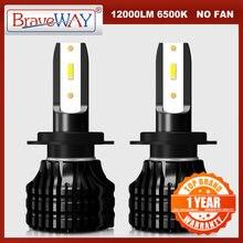 Braveway h4 светодиодный h7 лампы для передних фар автомобиля