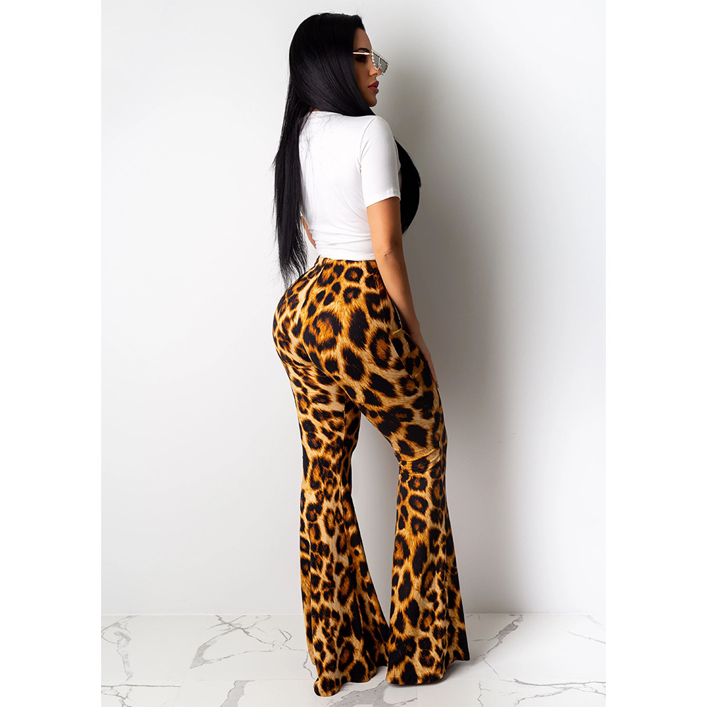 Hot Selling Europe And America-Short-sleeved Round Collar T-shirt Leopard Patterned Pants Casual Two-Piece Set Sd122
