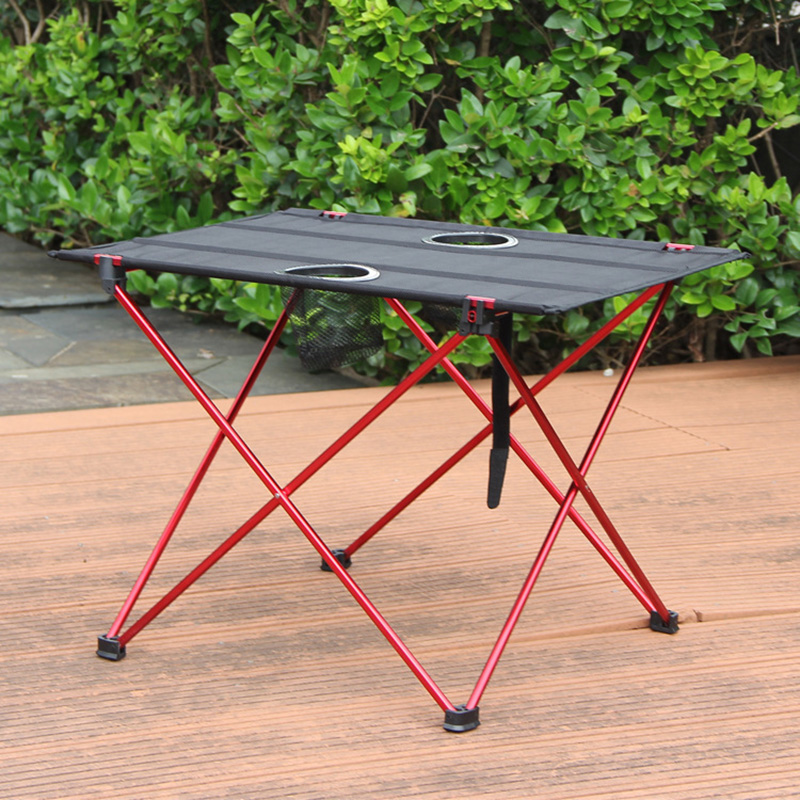 Provided Outdoor Camping Beach Barbecue Outdoor Camping Folding Table Convenient Aluminum Alloy Fishing Table With Coke Cup Booth Table