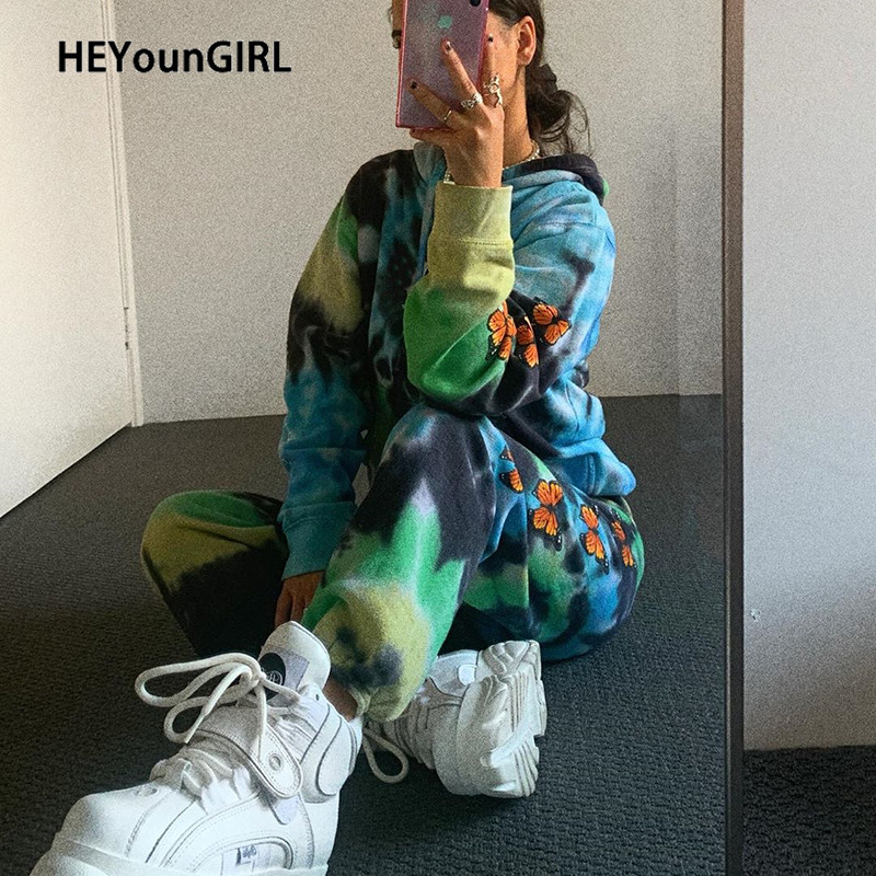 HEYounGIRL Butterfly Printed Casual Sweatpants Women Harajuku Punk Loose Long Trousers Fashion High Waist Pants Capri Streetwear