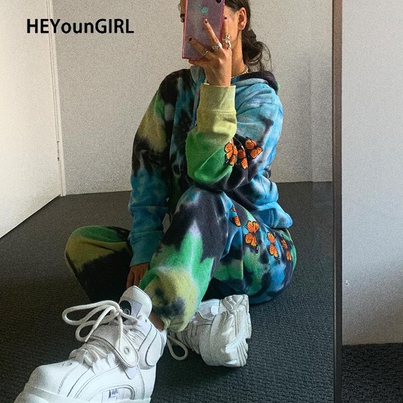 HEYounGIRL Butterfly Printed Casual Sweatpants Women Harajuku Punk Loose Long Trousers Fashion High Waist Pants Capri Streetwear