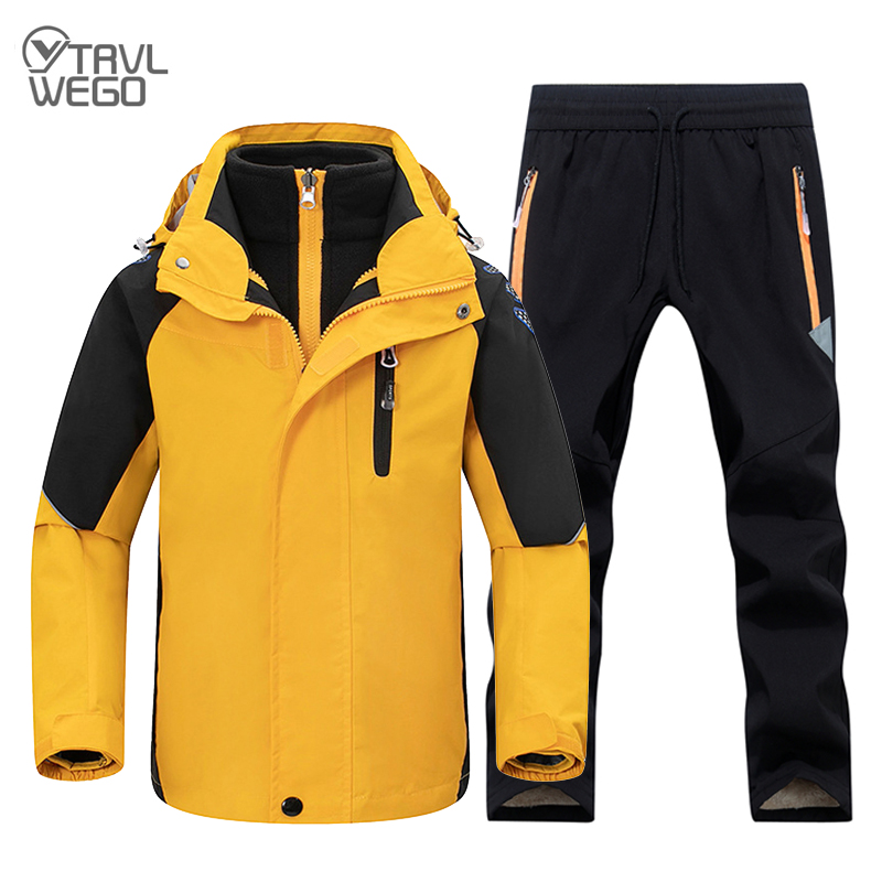 TRVLWEGO Kids Hiking Suit Children Waterproof Warm Girls And Boy Trekking Jacket And Pants Winter Skiing And Camping Clothes