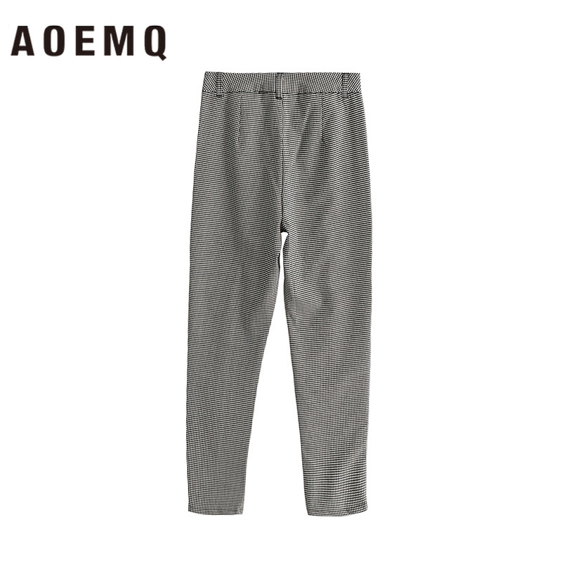 AOEMQ England Pants Plaid Drawstring Trouser With Belt Pencil Pants Street Beat Party Club Polyester Trousers Women Clothing