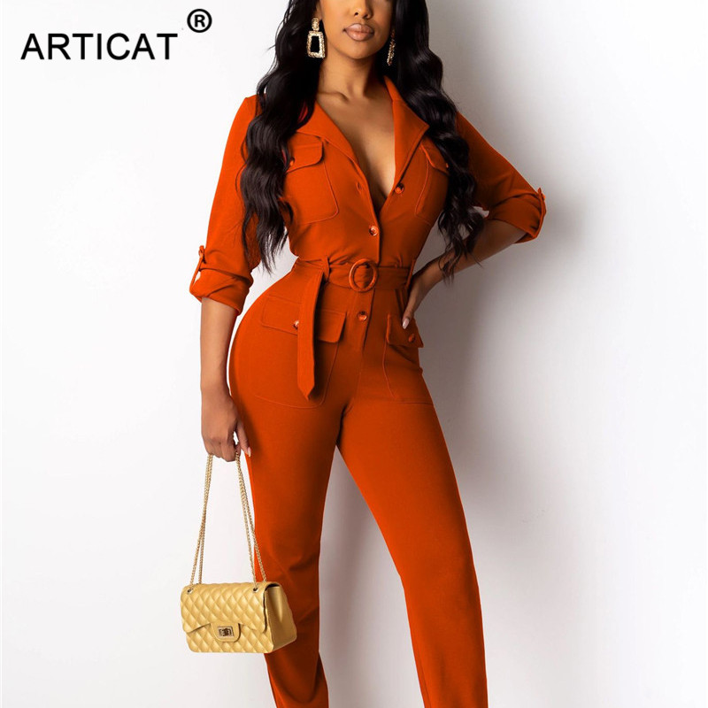 Articat Vintage Rompers Womens Jumpsuit 2019 Long Sleeve Buttons Skinny Autumn Jumpsuits Casual Slim Playsuit Overalls With Belt