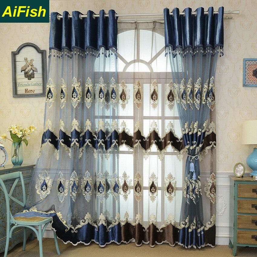 Tulles de luxe européennes Organza brodé Floral voilages rideaux pour salon chambre panneaux Voile rideaux 2 couleurs TM0213
