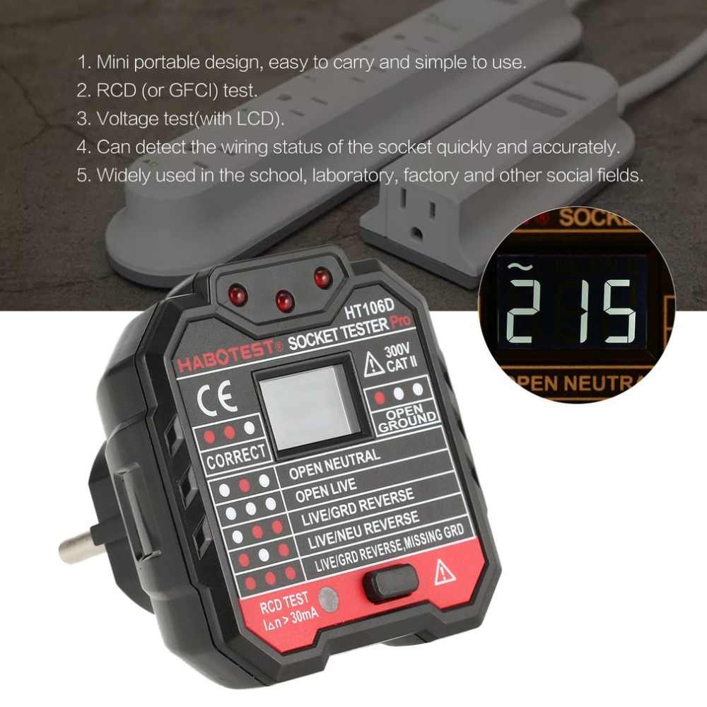 HT106D Socket Testers Voltage Test Socket detector EU Plug Ground Zero Lijn Plug Polariteit Fase Controleren
