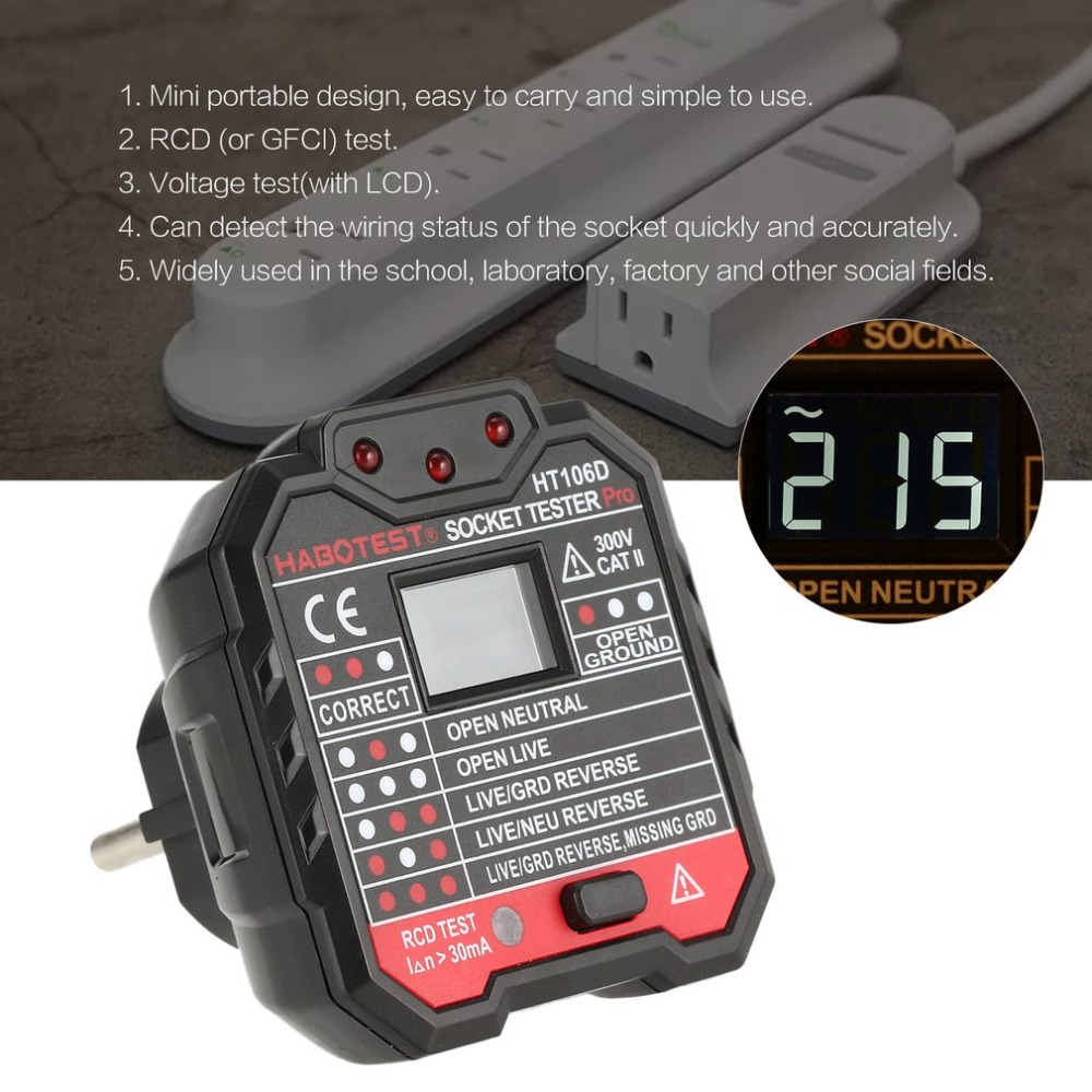 HT106D Socket Testers Voltage Test Socket Detector EU Plug Ground Zero Line Plug Polarity Phase Check