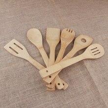 Посуда для приготовления смешивания бамбуковые кухонные инструменты ложки металлическая кулинарная лопатка для смешивания посуды Прямая#0306