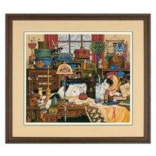 トップ品質美しいカウントクロスステッチキットマギーを Messmaker ミシン猫キティ寸法 03884 、縫製ルーム