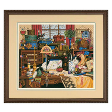 Top Quality beautiful counted cross stitch kit Maggie The Messmaker sewing machine cat kitty dimensions 03884, sewing room