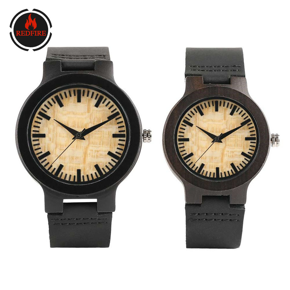 REDFIRE Retro Yellow Dial Ebony Wood Watch For Lovers Quartz Timepiece Couple Wooden Watches Black Genuine Leather Wristwatches