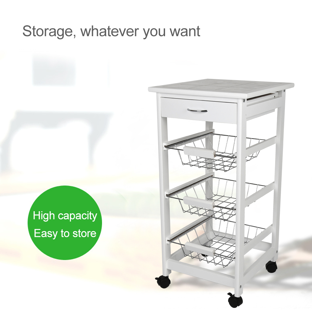 37*75CM Solid Pine Kitchen Trolley Moveable Dining Shelf Food Beverage Storage Rack Cabinet with 1 Drawers 3 Baskets HWC