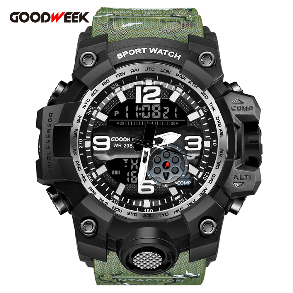 GOODWEEK Waterproof Military Watch Men Sports Watches With Compass Outdoor Dual Display Led Quartz Wristwatches