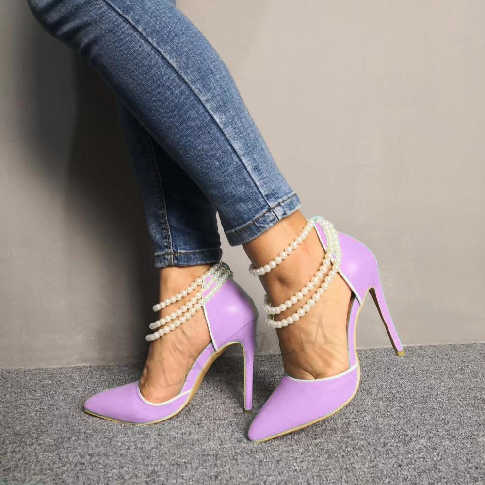 LAIGZEM المرأة الكعوب خنجر اللؤلؤ الأشرطة عالية الكعب وأشار اصبع القدم أحذية الزفاف حزب حفلة موسيقية مضخات أحذية للسيدات 2020 كبيرة 47-في أحذية نسائية من أحذية على  مجموعة 1