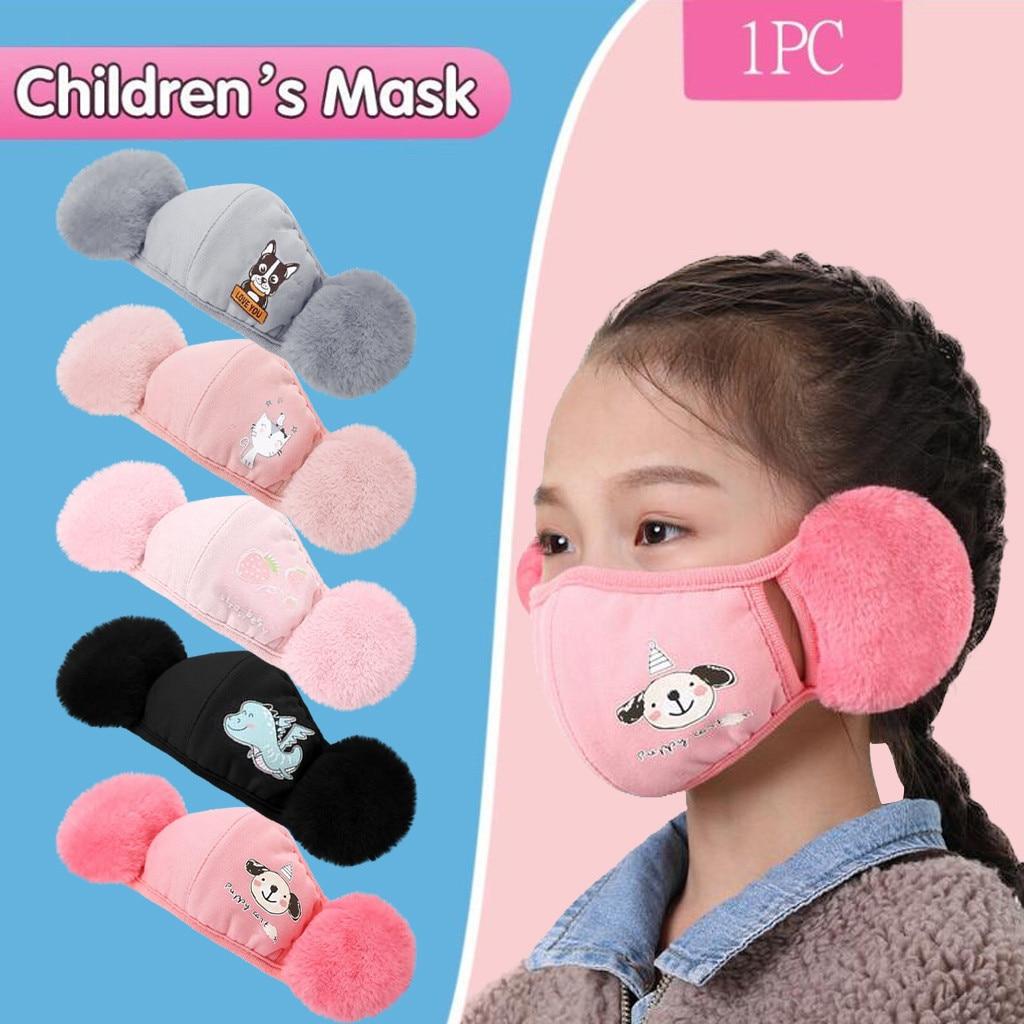 Модные зимние пылезащитные маски с мультяшным медведем, ушные ветрозащитные Теплые маски для лица и рта, Детская Балаклава
