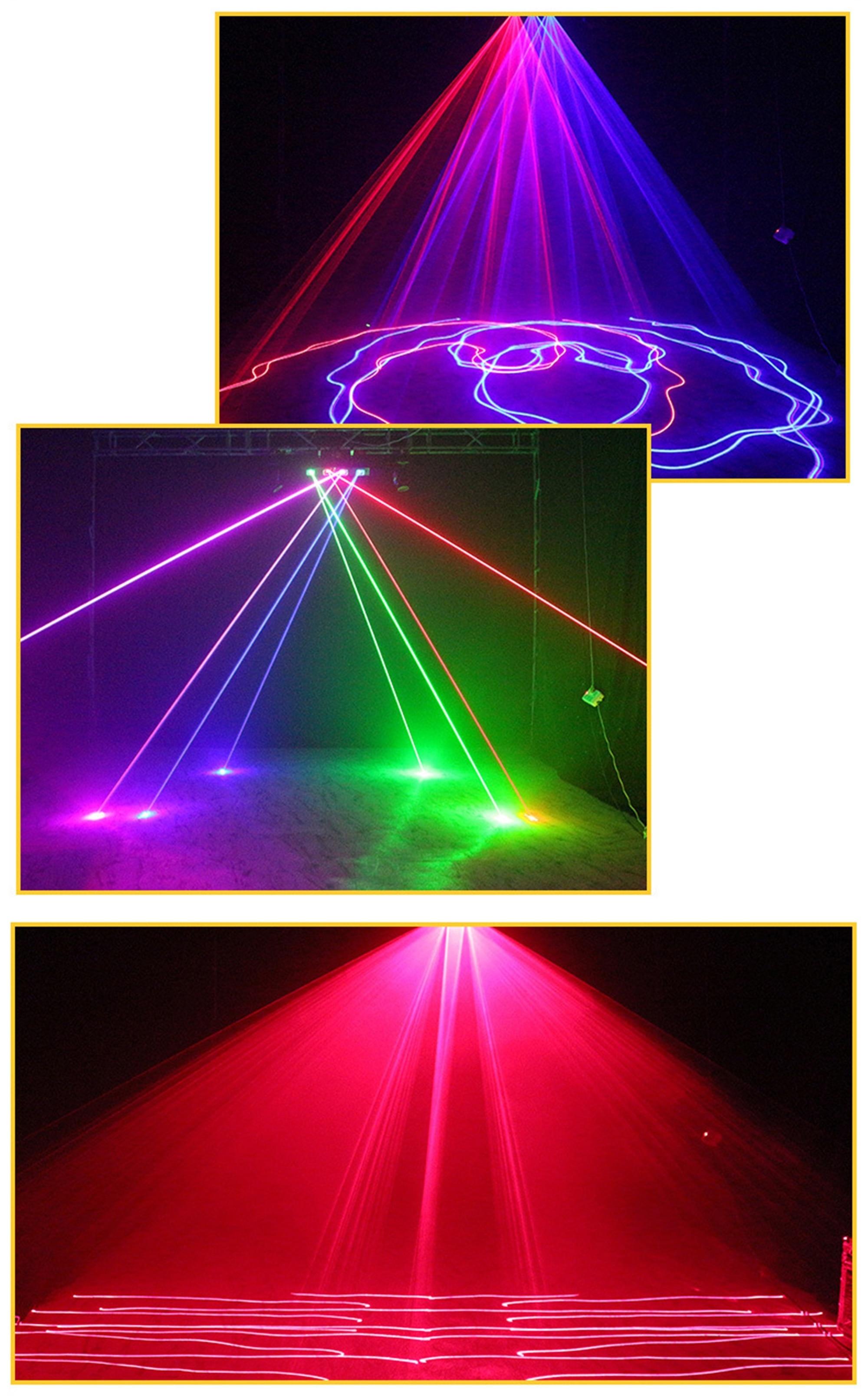 Quatro lente forte rgby laser mostrar sistema