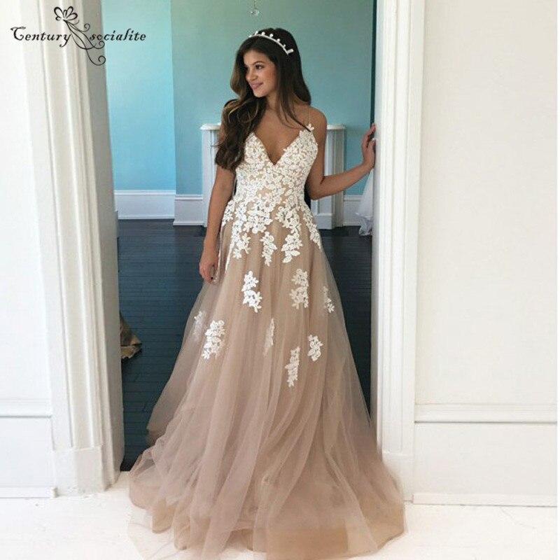 Gorgeous Champagne   Prom     Dresses   Long Lace Appliques Straps Zipper Back A-Line Evening Gowns Formal Party   Dress   Vestidos De Festa