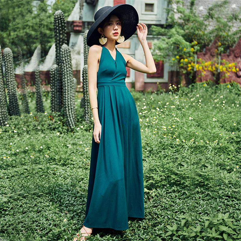 Spring and summer new style Retro vacation dress V neck halter dress Bottoming long dress beach dress in Dresses from Women 39 s Clothing
