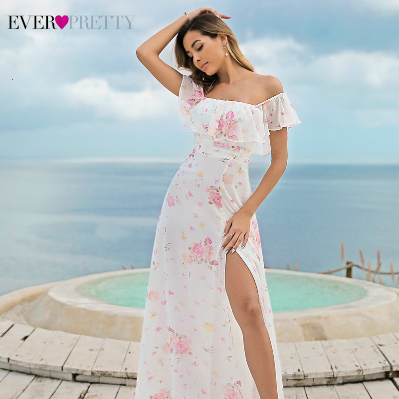 Elegant Chiffon Bridesmaid Dresses Ever Pretty A-Line Off The Shoulder Ruffles Side Split Floral Printed Wedding Guest Dresses