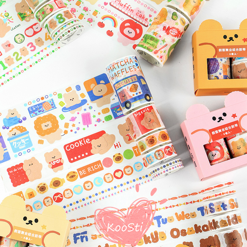 6Pcs/Set Cute Bear Animal Washi Tape Kawaii Flower Masking Tape Whale Decorative Tape For Sticker Scrapbooking DIY Photo Album