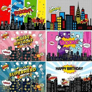 Custom Superhero Comics City Birthday Party Banner Backgrounds Kid Boy Children Poster Photography Backdrops Photo Studio Props