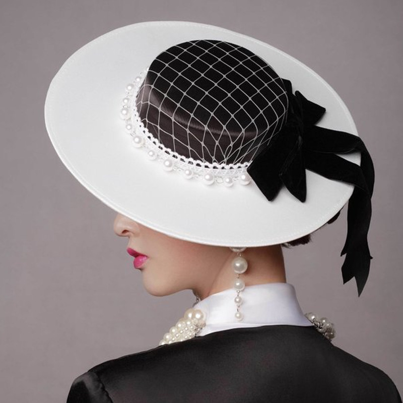 Vintage Wedding Hats Pearls Women Net Bridal Hats White Black Wedding Accessorie Brides Fascinator Sinamay Wedding Birdcage Veil