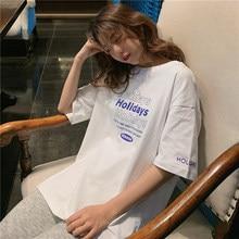Carta suelto Casual estilo coreano básicos todo encuentro DE MODA gran oferta nueva llegada de algodón viento de la Universidad de Verano de 2020 de las mujeres camisetas