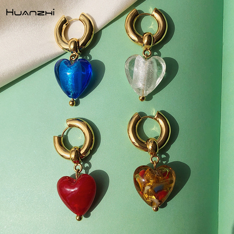 HUANZHI 2020 Vintage Colorful Glass Love Heart Shaped Drop earrings Gold Color Metal Circel For Women Girls Travel Jewelry