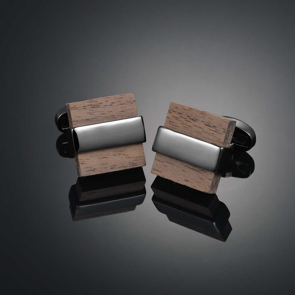 Yenilik lüks kalite bakır karbon fiber/kırmızı ahşap/kristal kol düğmeleri tasarım mens fransız takım elbise aksesuarları takı gemelos