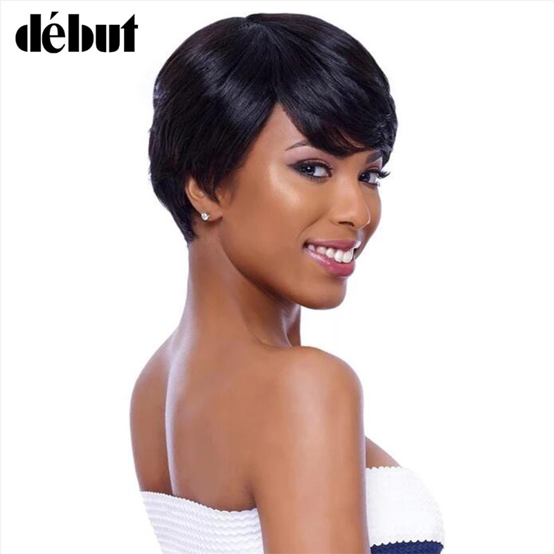 Debut Natural Black Color Human Hair Wigs For Black Women Remy Brazilian Short Hair Wigs Pixie Cut Short Wigs Women Gifts