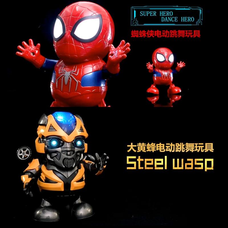 Avengers Marvel Ironman  Dance Iron Warrior  Spiderman Bumblebee Robot Lighting Music Electric Toy DANCE HERO Billy Red
