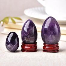 Ametyst jajko kryształ kwarcowy Reiki Ornament naturalny kamień uzdrawiający kwarcowy dom dekoracyjny kamień energetyczny rudy mineralne ozdoby prezent