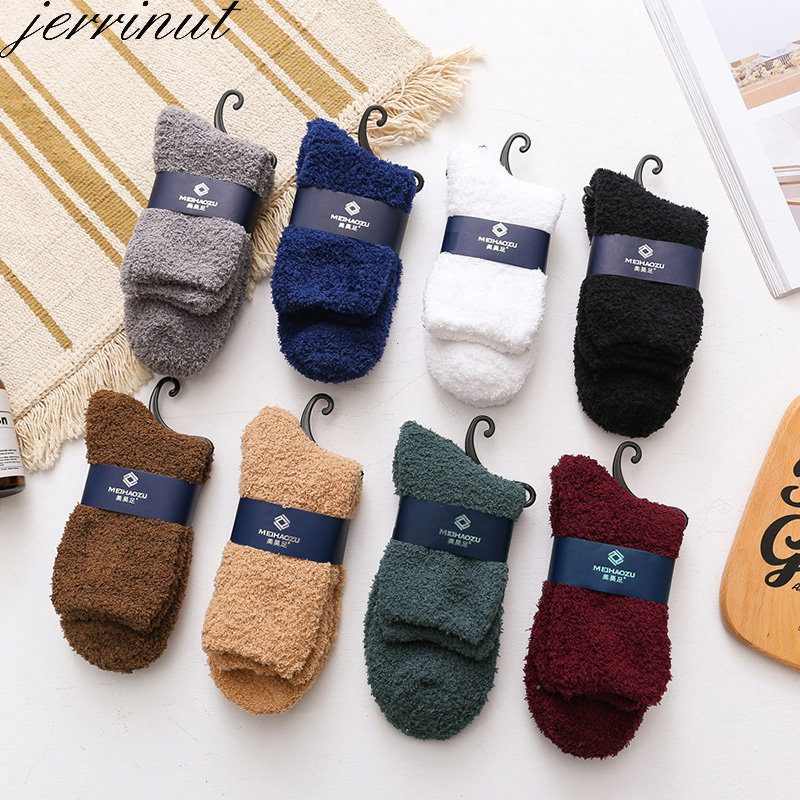 Men Warm Winter Socks Fluffy Fuzzy Thicken Sleeping Socks Casual Fashion Solid White Black Soft Coral Fleece Floor Socks 1 Pair
