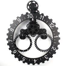 3D Modern Large Wall Art Rotary Gear Clock Mechanical Calendar Wheel Black