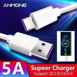 ANMONE 5A Fast Charging Cable Type C USB Cable Android Super Quick Charger Type-C Devices USB-C Data Cord Supercharge Universal